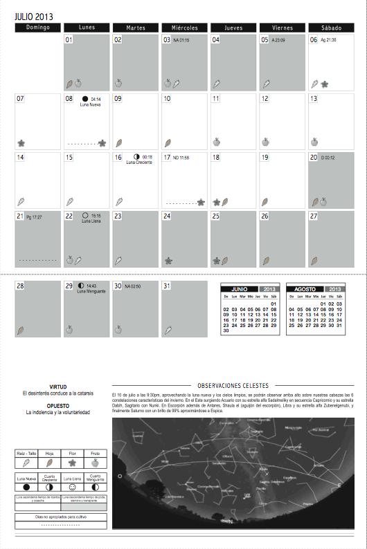 Calendario biodinámico Julio 2013 René Piamonte