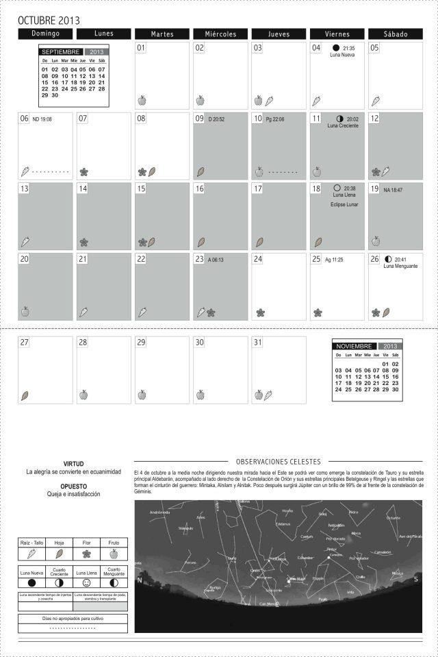 Calendario 2013 cuadros OCTUBRE